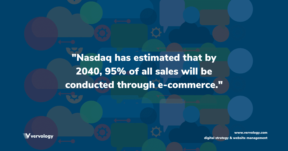 Nasdaq has estimated that by 2040, 95% of all sales will be conducted through e-commerce.