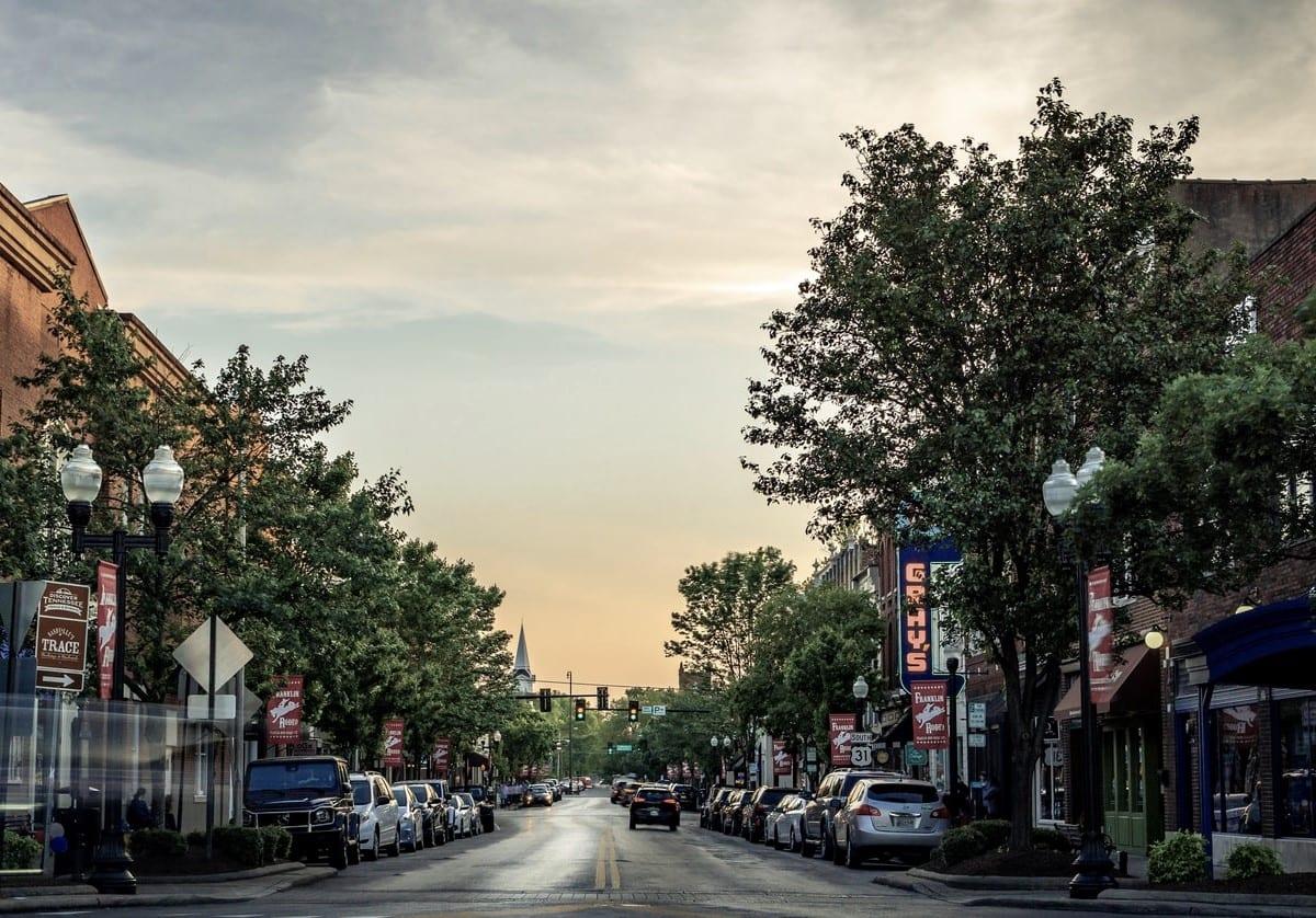 Main street Syracuse at sunset