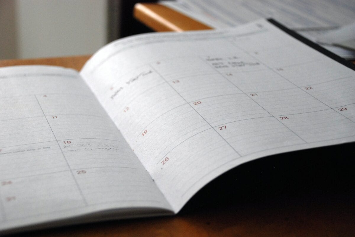 A planner sitting on a desk