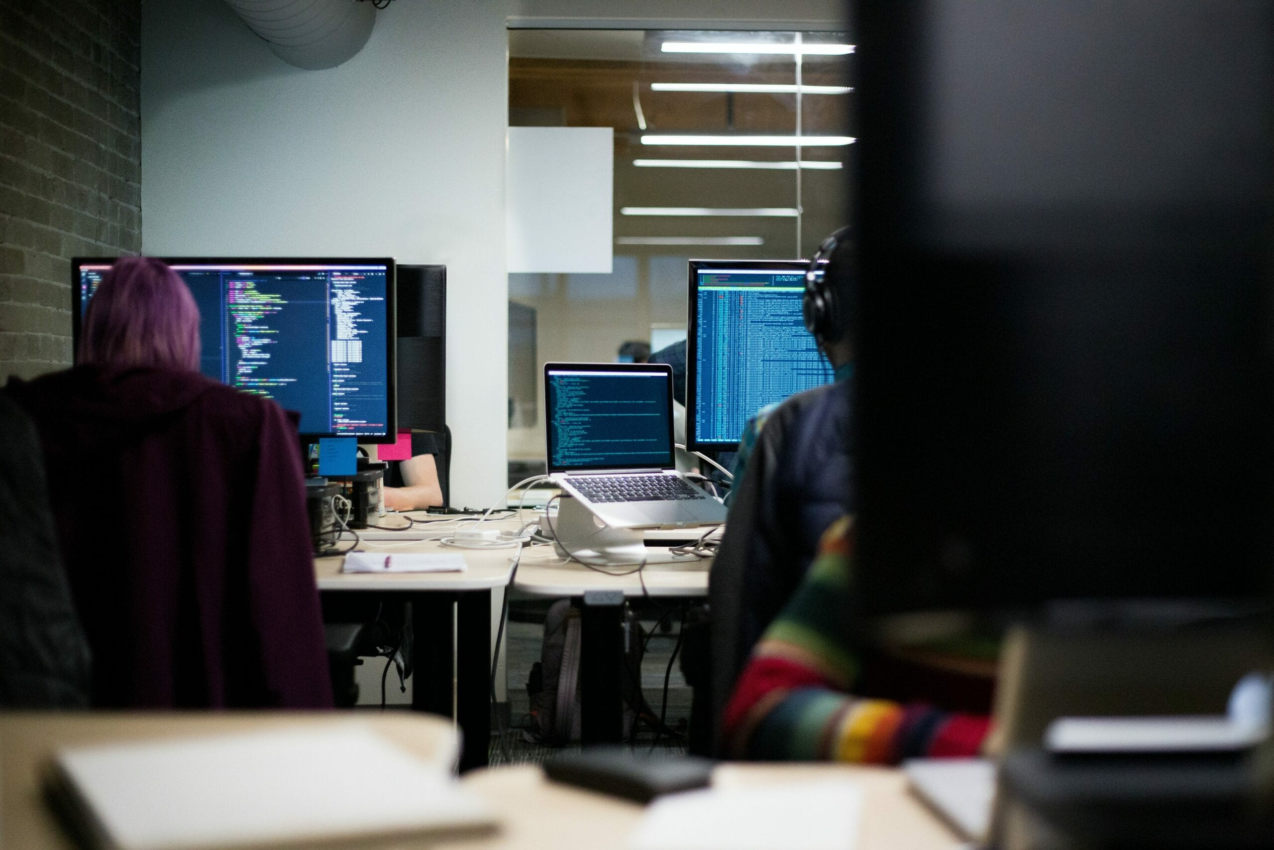 People programming in a computer lab