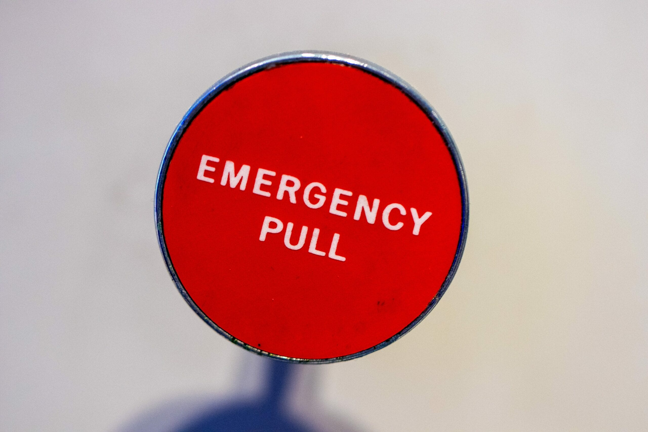 "A handle that says ""Emergency Pull"""