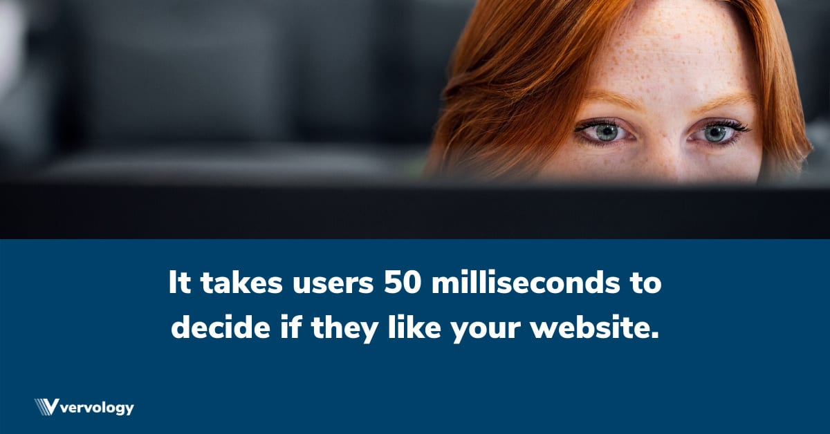 It takes users 50 milliseconds to decide if they like your website.