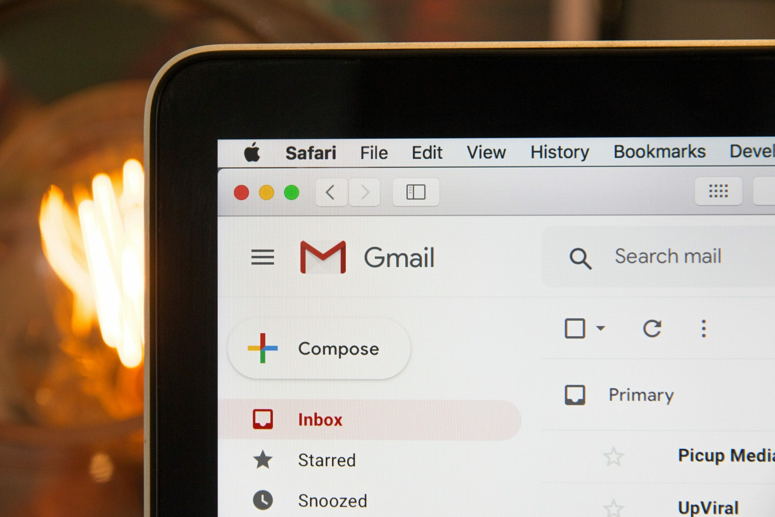 A laptop with Gmail on the screen