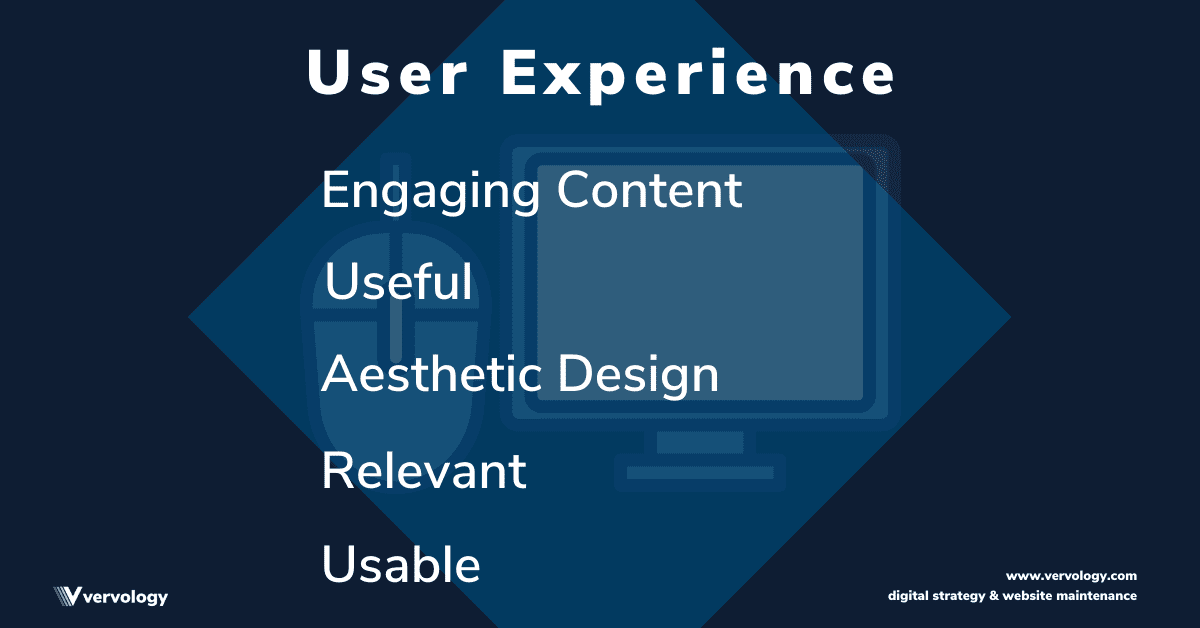 The tenets of User Experience including design aesthetics, engaging content, relevance, and usability.